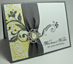 Lovely Yellow & Gray Birthday Card...with gray ribbon trim & bling...stampingupnorthwithlaurie.
