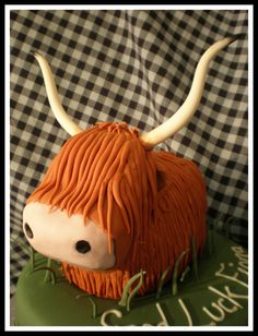 Scotish Highland Cow  The cow is carved maderia and bc and the head is rkt