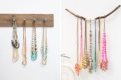Use reclaimed wood and branches to organize your jewelry.