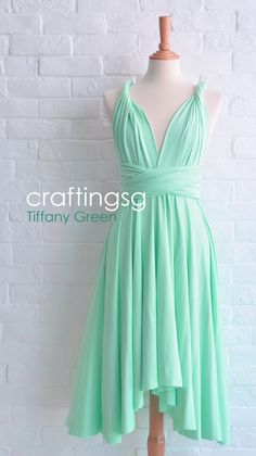 Bridesmaid Dress Infinity Dress Tiffany Green Knee by craftingsg