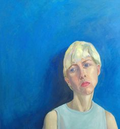 Genevieve French, Rosalie on Blue, Oil on canvas, 100x100cm