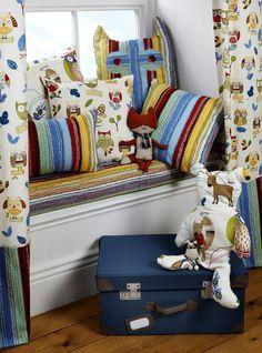 Children's fabric for children's curtains, nursery bedding and soft kids … - Haus Design Boys Room Curtains, Childrens Curtains, Kids Room Bed, Curtains Uk, Childrens Rooms, Boy Room, Forest Friends, Deco Design, Nursery Bedding