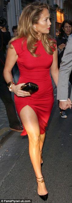 J.Lo~ Jennifer Lopez in fashion red.