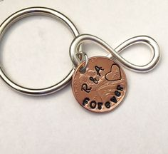 Forever and Infinity stamped penny keyring.  personalized For couples celebrating love.  Give the gift of forever. by Lexiandfriends on Etsy