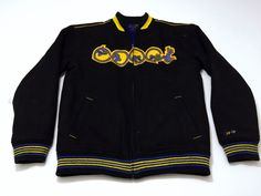 Coogi M Jacket Men's Black Blue Yellow Full Zip Medium Long Sleeve Wool Blend #Coogi #BasicJacket