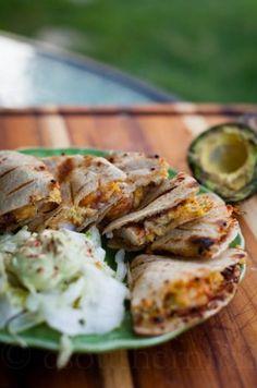 ... shrimp quesadillas with smoky grilled avocado cream sauce spicy shrimp