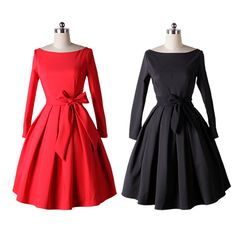 2016 Spring Autumn Vintage 50s Dresses Audrey Hepburn Solid Pleated Bridesmaid Boutique Dresses Black Dress Vestido de Festa JD0 #Affiliate