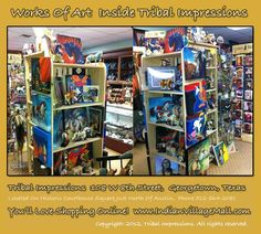 Massive Displays Of Limited Edition Painted Pony Art! Inside Tribal Impressions - http://www.indianvillagemall.com/statue/ppmenu.html