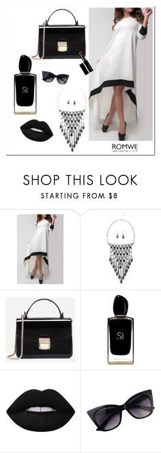 """""""Romwe #1/2"""" by soofficial87 ❤ liked on Polyvore featuring Giorgio Armani, Lime Crime, Witchery and vintage"""