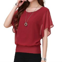 Women Top Summer Chiffon Blouse; Short Sleeve Casual Shirt; Plus Size Ruffle Bat wing | $16.88   #purplerelic #WomenClothing #blouses #SummerWear