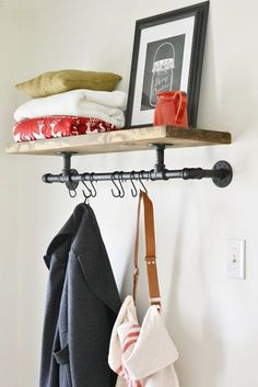 Industrial Coat Rack Here is a quick and easy to tutorial of how to make an industrial pipe coat rack.Here is a quick and easy to tutorial of how to make an industrial pipe coat rack. Decor, Home Diy, Industrial Coat Rack, Diy Furniture, Shelves, Interior, Diy Coat Rack, Home Projects, Home Decor