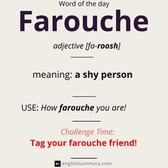 farouche meaning and examples English Idioms, English Phrases, Learn English Words, English Writing, English Lessons, English Literature, Weird Words, Unusual Words, New Words