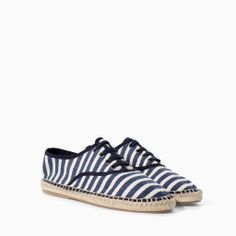 c7f06341feb Shop Women s Zara Blue White size 8 Espadrilles at a discounted price at  Poshmark. Description  White and navy striped espadrille shoes from Zara.