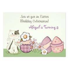 Cute Kitty Cat and Easter Eggs Birthday Invitation
