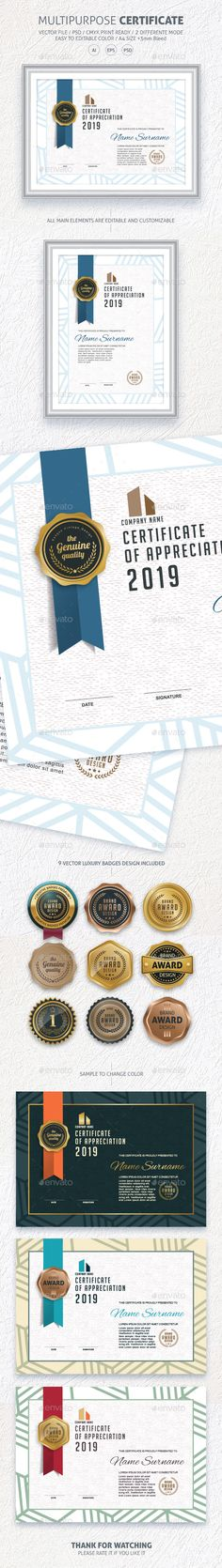 Certificate  — PSD Template #design #security • Download ➝ https://graphicriver.net/item/certificate/18319610?ref=pxcr