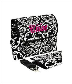 Personalized Damask Print 2-Piece Diaper Bag - Black and White Damask. $31.00, via Etsy.