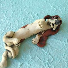 Basset Hound Lying on Back Ceramic Sculpture by RudkinStudio