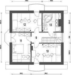 Rzut poddasza projektu Dom Dla Ciebie 3 bez garażu [B] Tiny Spaces, Design Case, House Plans, Floor Plans, Cabin, How To Plan, House Styles, Constitution, Projects