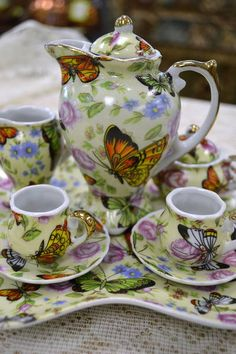 Miniature 9 Pc Tea Set - Butterflies - Adeline - Pretty! (Teapot has no lid)