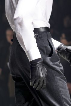 high-waisted wool trousers & leather gloves // Lanvin F/W 12