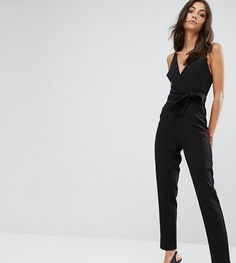 91c59be6a31 ASOS TALL Wrap Front Jumpsuit with Peg Leg and Self Belt - Black