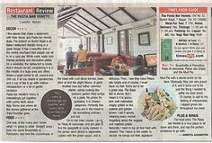 The Pasta Bar Veneto - Food Review published in Times of India (Chennai Times)