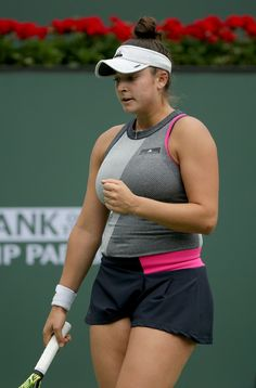 Busty female tennis players