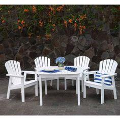 Outdoor Patio Dining 5 Pcs Luxury Set Garden Wooden Furniture Lawn Weatherproof