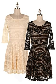 PAISLEY LACE OVERLAY FIT N FLARE DRESS.   #3E-D4896