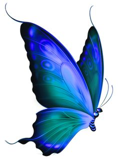 Transparent Blue and Green Deco Butterfly Clipart