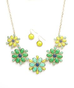 Look at this Ethel & Myrtle Yellow & Green Floral Bead Bib Necklace & Earring Set on #zulily today!