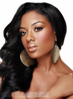 Real Human Hair African Americans | Pretty Sexy Long Curly Black 100% Human Hair 16Inches Lace Front Wig ...