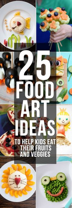 Twenty Five Food Art Ideas -- these delicious, adorable and healthy food art ideas are great ways to help your kids eat their fruits and vegetables! Your kids won't be able to resist eating their fruits and veggies when they look this cute!