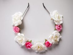 floral cream white and pink rose crown by michaelascalisi €21