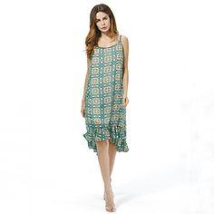 67cd5ba1fd15   11.10  Women s Plus Size Vintage Loose Chiffon Dress - Print Backless  Strap Summer Cotton Green. Taglia Forte VintageVestiti Di Dimensioni ...