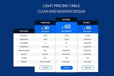 Light Pricing Table by Youme Techworld on @creativemarket