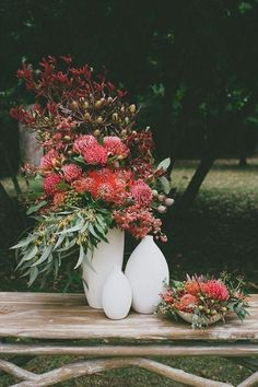 Wedding Flower Arrangements Image Gallery for Tonia and Shane's Modern Australian Bushland Wedding featured on Polka Dot Bride. - Image Gallery for Tonia and Shane's Modern Australian Bushland Wedding featured on Polka Dot Bride.