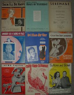 Collectible Paper Lot 9 Vintage Sheet Music Variety 1920's -1940's 6A marie2art
