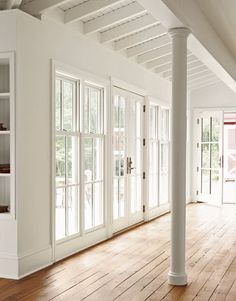 Wall of windows. Perfect Windows and Doors for Living Room Before and after - restoring an 1860 New Jersey Farmhouse. Farmhouse Windows, Farmhouse Interior, Modern Farmhouse, Farmhouse Style, Farmhouse Addition, Floor To Ceiling Windows, Windows And Doors, Wall Of Windows, Window Wall