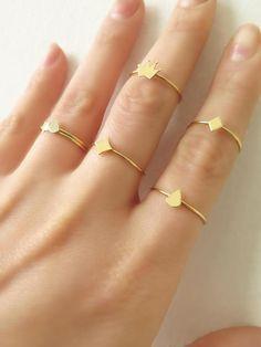 Gold Teardrop Ring 14K Solid Gold Teardrop Ring Tiny by ZacdeGal