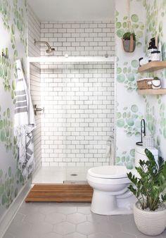 Modern Farmhouse, Rustic Modern, Classic, light and airy master bathroom design ideas. Bathroom makeover ideas and master bathroom renovation tips. Bathroom Niche, Diy Bathroom, Bathroom Wallpaper, Modern Bathroom, Small Bathroom, Master Bathroom, Bathroom Ideas, Loft Bathroom, Bathroom Layout