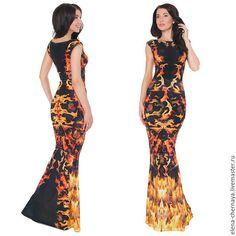 Платье трикотажное, макси / Пламя
