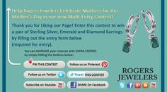I just entered the Rogers Jewelers' 'Celebrate The Moms' Contest. Click this Pin to see how to enter to win a pair of Sterling Silver, Emerald and Diamond Earrings
