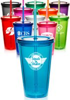 PG161 - 16 oz. Double Wall Acrylic Tumbler with Straw