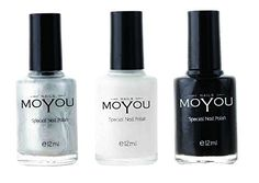 MoYou Nails Stamping Nail Polish Pack of 3 Black Silver and White Colours used for Stamping Nail Art to Create Beautiful Shinny and Fashionable Nails Sourced Directly from the Manufacturer * Check out this great product. Note:It is Affiliate Link to Amazon.