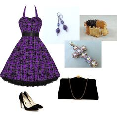 """""""Pretty in Purple Plaid"""" by theknottyneedle on Polyvore"""