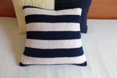 Hand knit cushion cover nautical navy and white by Adorablewares, $42.00