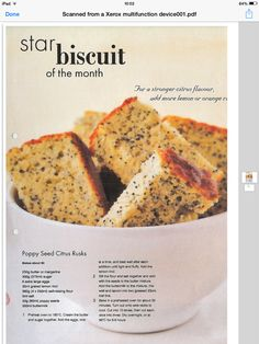 Poppy seed citrus rusks Brunch Recipes, My Recipes, Beef Recipes, Baking Recipes, Dessert Recipes, Favorite Recipes, Recipies, Desserts, Rusk Recipe