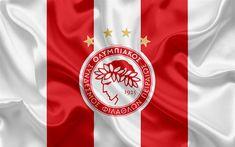 Download wallpapers Olympiakos Piraeus FC, 4k, Greek football club, emblem, logo, Super League, championship, football, Piraeus, Greece, silk texture, flag
