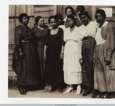 1920 First Black Women to Vote in Ettrick, Virginia :: Virginia State University Digital Archives Collection --hese women, left to right, are Eva Conner, Evie Carpenter, Odelle Green, Virginia Mary Branch, Anna Lindsay, Edna Colson, Edwina Wright, Johnella Frazer, and Nannie Nichols